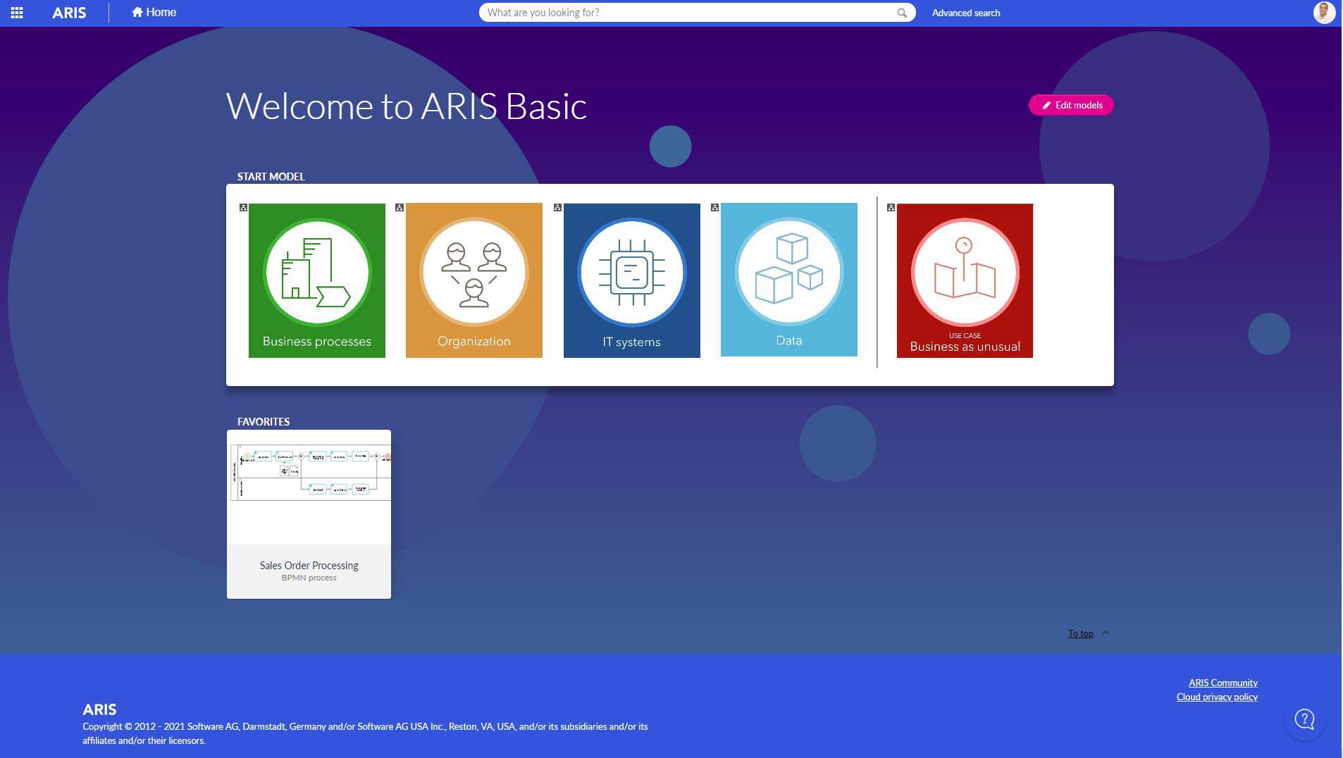 ARIS Basic home screen